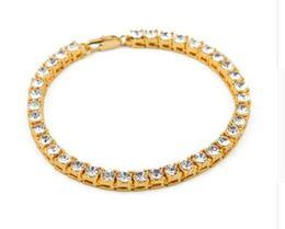 Wholesale Heavy Gold Link Chain - Hip Hop Heavy Bling Bracelet men Bracelet Iced Out 1 Row Rhinestones Bracelet Men's Hip Hop Style Clear Simulated Diamond Bling