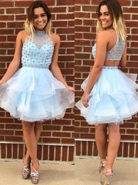 Wholesale short bling homecoming dresses - 2018 Bling Crystal Homecoming Prom Dresses Cheap Short High Neck Organza Sequin Beaded Hollow Back Party Graduation Dress Light Sky Blue