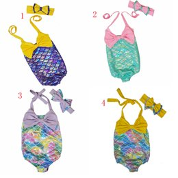 Wholesale girls cartoon swimsuit - Children Mermaid Swimwear Bow headband+bow swimwear 2pcs set cartoon Mermaid Bikini Kids One-piece Swimsuit 6 colors C1924