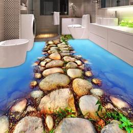 Murais de pedra on-line-Personalizado 3D Piso Mural Papel De Parede River Stone Road Banheiro Pavimento Pintura PVC Auto-adesivo Papel De Parede À Prova D 'Água Papel De Pared