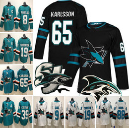San Jose Sharks Eishockey 65 Erik Karlsson 88 Brent Burns 8 Pavelski 19 Joe  Thornton 9 Evander Kane 39 Logan Couture Trikots S-3XL f266695e0