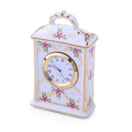 relógios de mesa de cerâmica Desconto TUDA Frete Grátis 2 Polegada de Cerâmica Mini Relógio de Mesa Artesanato Enfeites de Mesa Relógio de Cerâmica Requintado Decoração de Casa
