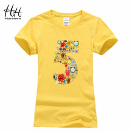 Wholesale Birthday Shirt Women - HanHent Funny Numbers 5 Women T shirts Top Women Fashion Multicolor Tshirt Youngirl Letter Print Cotton Summer T-shirts Birthday