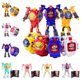 Wholesale electronic robot toys for wholesale - 8 Designs Deformation Figure Robots Watch Electronic Deformation Watch Toy For Children Kids Party Favor AAA335