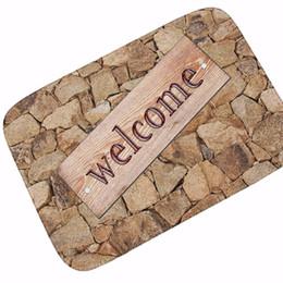 2019 bienvenido decoración de la pared Muro de piedra Print Floor Mats Welcome Mats Baño Felpudos Kitchen Carpets Decoración de la casa para la sala de estar Antideslizante tapete Tapete bienvenido decoración de la pared baratos