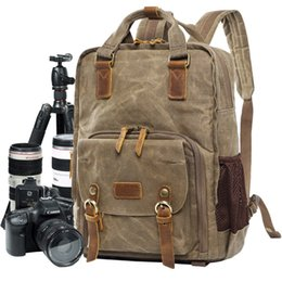 cámara dslr de lona Rebajas M177 Nueva cámara mochila para Canon DSLR portátil lona vintage SLR cámara mochila mochila fotografía bolsas de hombro