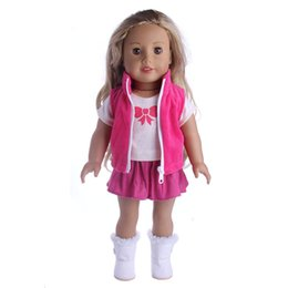 Wholesale 18 inch american doll - 3Pcs Beauty Pleated Dress Skirt Shirt Coat Clothes for 18 Inch American Girl Doll Princess Outfit Dress Up