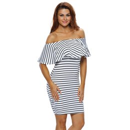 23050f71600 2019 robe à rayures noires et blanches 2018 noir et blanc robe à rayures  femmes Casual. 31