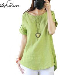 хлопок льняная блуза женская Скидка Plus Size Women Blouse Loose Short Sleeve Casual Cotton Linen Summer Shirts Solid Color O-neck Blusas 2018 Tops Blusa Feminina
