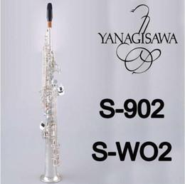 tubi in argento placcato Sconti YANAGISAWA S-WO2 S-902 Soprano B (B) Sassofono a tubo dritto Marchio di qualità Ottone strumenti placcati argento con astuccio per bocchino