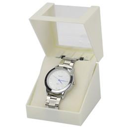 Wholesale window dressings - Single Window Transparent Watch Box Plastic Caixa Para Relogio White Red Black 7.8*7.8*7.8 Square