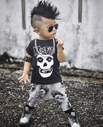 Wholesale Toddler Tutu Sets - 2018 New 2pcs Newborn Toddler Kids Short Sleeve Skull Infant Baby Boys Girls Summer Clothes Cotton T-shirt Pants Outfits SetS