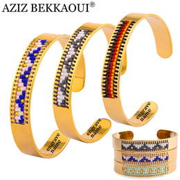 Wholesale name beads wholesale - AZIZ BEKKAOUI 10MM Wide Bracelets For Women Fashion Cuff Bangles Colorful Seed Beads Stainless Steel Bangle Engrave Name
