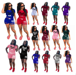Wholesale Ski Neck - Summer PINK Letter Ripped Shorts Outfit Women tracksuit sets short sleeve T-shirt+ Shorts Ripped Holes pants Sportswear GYM jogging suit