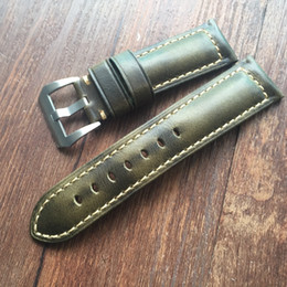 Correa de piel de cera de aceite correa de cuero genuino brazalete de banda 18 mm 20 mm 22 mm 24 mm 26 mm vintage reloj de pulsera banda de calidad superior hecho a mano correa desde fabricantes