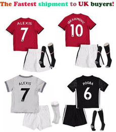 Wholesale United Kids - Singapore shipment to chile! Children 2018 Alexis Sanchez youth man Kids U Soccer Jerseys+socks Maillot de Foot united set utd enfants