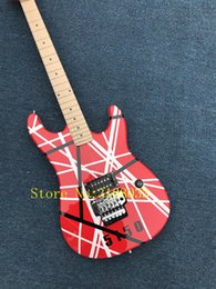Wholesale floyd rose white - Hot Sale Factory Custom Electric Guitar with Red Body,Black and White Lines Cross,Floyd Rose,Can be Customized