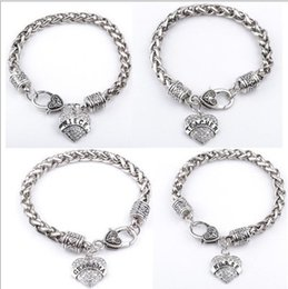 Wholesale Family Christmas Party - 15 Styles Charm Middle Little Sister Sis Clear Crystal Heart Pendant Bracelet Lovely Family girl Gifts Party Shiny Fashion Jewelry