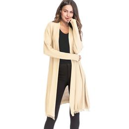 Borla larga Cardigan Harajuku Damas Otoño Moda dobladillo asimétrico de  manga larga de punto suéter mujeres abrigo Casual Cardigans d03614d29ee7