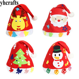 juguetes educativos de tela Rebajas 4 UNIDS / LOTE, sombrero de tela de dibujos animados de bricolaje Cree sus propios sombreros Juguetes educativos para niños Favores de la fiesta Kindergarten artesanía Adulto DIY