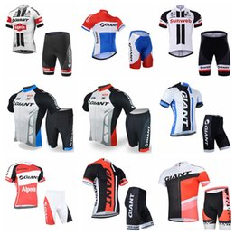 Wholesale Cycling Jersey Set Giant - GIANT team Cycling Short Sleeves jersey shorts sets Quick- Dry Breathable Hot Sale cycling jersey short sleeve set 841008