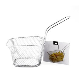 Wholesale fry baskets - Screen Basket Fry Food Hamper Fries Basket Chicken Wings Snack Network Filter Strainers Kitchen Iron Wire Colanders 5 5br V