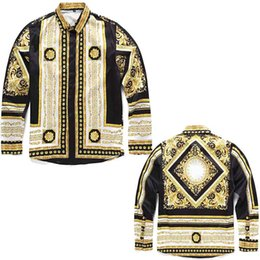 Wholesale baroque prints - Medusa Silk shirts Gold Floral 3D Print Slim Fit Mens designer shirts Italy Fashion chemise arc Hem Baroque Shirt Long Sleeve blouse tees