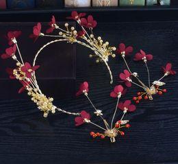 Бижутерия обручальные кольца онлайн-Красные цветы свадебные тост аксессуары для одежды диапазон волос аксессуары для волос костюм невесты ручной работы головной убор свадебные украшения