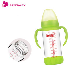 Wholesale Wholesale Baby Bottle Covers - REIZBABY 280ml 160ml Newborn Baby Feeding Bottle Glass Nipple Handle Straw Cover Wide Mouth Baby Water Milk Bottle