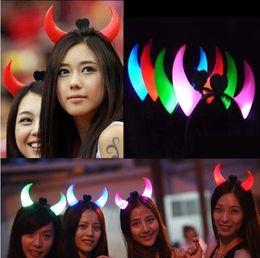 Wholesale Devil Horns Light - Led Flashing Horns Headband Glow Light Up Xmas Devil Hair Hoop Headband Headwear Costume Fancy Party Accessories OOA2593