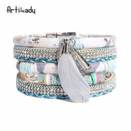 Wholesale feather wristband - Artilady women's wristbands leather bracelet feather crystal charm bracelet bangle for women boho jewelry gift