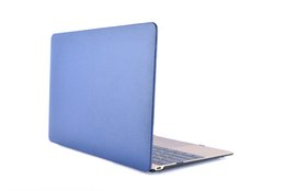 """Wholesale Laptop Hard Shell Covers - Plastic Hard Case with Front Single Side PU Leather for Apple Macbook 12"""" Retina Cover Protective Shell 12 inch Laptop Cover for Macbook+Key"""