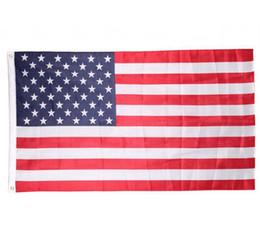 2019 konfetti silber großhandel 50 stücke USA Flaggen Amerikanische Flagge USA Gartenbüro Banner Flaggen 3x5 FT Bannner Qualität Sterne Streifen Polyester Robuste Flagge 150 * 90 CM H218w