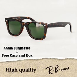 Wholesale Clear Square Frame Glasses - Cassic sunglasses men women plank frame glass lens 2018 new arrival Fishing Driving sun glasses with free cases and box