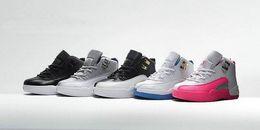Venta en línea 2018 Zapatillas de baloncesto New Kids 12s baratas para zapatillas de deporte para niñas y niños Zapatillas de correr para niños Baby 12s Tamaño 11C-3Y desde fabricantes