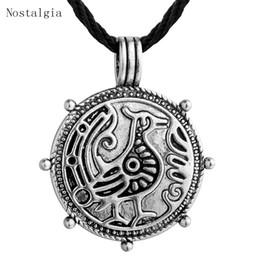 Ожерелье из талисмана онлайн-Nostalgia Vintage Odin's Ravens Bird Talisman Pendant Necklace Norse Viking Mythology Jewelry Classic Mens Spirit Colier Gift