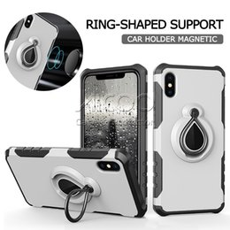Wholesale Case Iphone Verus - Armor Car Holder Magnetic Suction Bracket Ring Cover Verus Shockproof kickstand Case For iphone X 8 7 6s 6 Plus Samsung Note 8 S8 Plus Opp