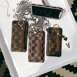 Wholesale flower case for iphone - Case for iPhoneX 8 8plus 7 7plus classic flower brown plaid purse phone case shell for iPhone6 6plus luxury brand