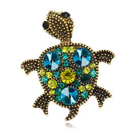 Wholesale Party Turtles - Pin Crystal Jewelry Diamond Brooch Spot Wholesale Cute Retro Turtle Brooch Animal Personality Fashion Female Jewelry Temperament Women