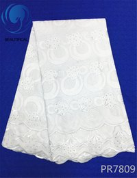 Wholesale White Cotton Voile Fabric - BEAUTIFICAL White Swiss voile lace wedding fabric High quality Nigerian dry cotton lace fabric for women party dress 5yards PR78