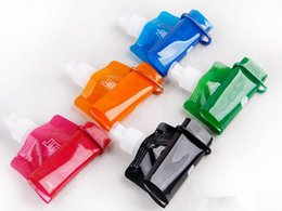 Wholesale folding bicycle bags - Newest Collapsible Water Bottles Folding Portable Outdoor Sports Bottle 480ML Environmental Protection Bag Riding Plastic Cups 2018 Hot