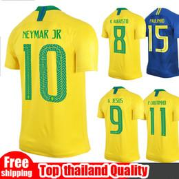 Wholesale Flashing Yellow - Brasil soccer jersey World cup 2018 PELE NEYMAR JR Brazil Jersey JESUS COUTINHO MARCELO FIRMINO football kit shirt camisa de futebol MAILLOT