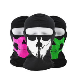bikers skull cap Coupons - Halloween Full Face Mask Skull Print Motorcycle Hood Cap Face Mask Biker Windproof Neck Scarf Headwear