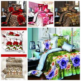 Discount 3d oil painting cover sets - 6 Styles 3D Flower Printing 4pcs Suit Bedding Sets Oil Painting Quilt Cover Luxury Sheet Home Textile Bedding sets CCA10196 12pcs