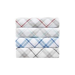 Couette en coton jumelé en Ligne-Ensemble de draps housse de couette Twin - Ensemble de literie en drap de flanelle imprimé gris et aqua à carreaux 4 pièces 100% 1