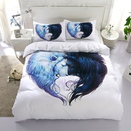 Wholesale Lion King Bedding - Animal Lion Reactive Printing Bedding Sets Twin Full Queen King Size Bedroom Decoration Duvet Cover Pillow Shams 3PCS
