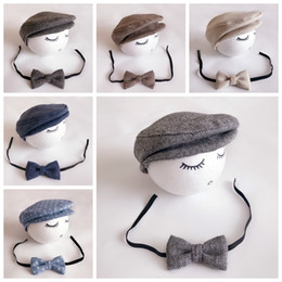 Wholesale Gentleman Photo - Baby Hat Newborn Photography Props Gentleman Cap And Bow Tie Baby Photo Prop New Fashion Infant Photo Clothing