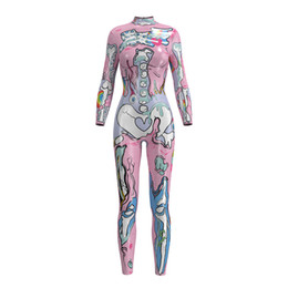 muscle men dresses Coupons - 3D Muscle Printing Costume Women Bodysuit MuscleJumpsuits Holloween Costumes for Women Carnival Party Dress Up Licras Mujer