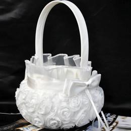 casos de niña de las flores Rebajas 2016 Nueva Ceremonia de Boda Fiesta Love Case Satén Elegante Bowknot Rose Flower Girl Basket