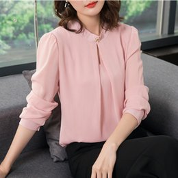 Wholesale Office Wear Blouses - 2018 Spring Autumn Chiffon Blouse Womens Tops and Blouses Long Sleeve Casual Female O-Neck Work Wear Solid Color Office Shirts